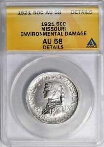 1921 Missouri Commemorative Half Dollar : ANACS AU58 Details