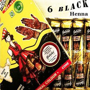 6 Black Henna paste cones tattoo kit bodyart temporary mehandi kone Free Shippin