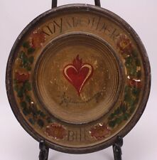 Mother I Love You Always Bill Folk Art Handpaint Wood Plate Bavaria Denny Igel