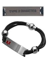 TYPE 2 DIABETES Medical Alert 316L Stainless Steel Leather Unisex Bracelet