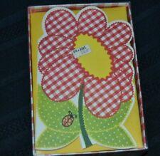 Vintage Montag's Gingham Garden Die-cut 10 Notecards Flower Ladybug Unused Nos