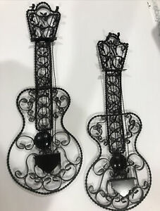 """2 Vintage Ornate Spanish Scroll 'Wrought Iron' GUITAR WALL HANGINGs,MCM 17.5,18"""""""