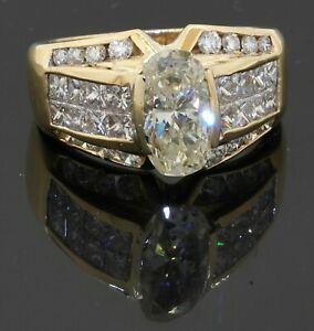 Heavy 18K yellow gold 4.08CT diamond cocktail ring w/ 2.0CT center size 7.5