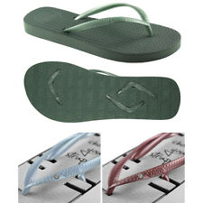 v1 Boomerangz Women's Green Thongs / Flip Flops + Diamante Blue &Burgundy Straps