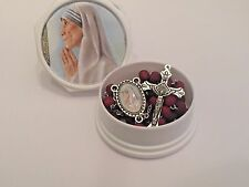 MOTHER TERESA  Rosary Matching CENTER  White Case Rose Scented Beads Catholic
