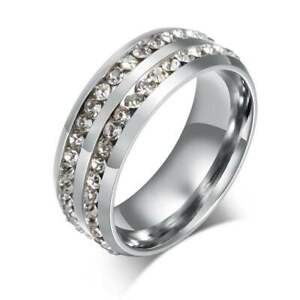 925 Silver Full Crystal Band Ring Jewelry Rings for Womens Mens Wide 8mm Size 7