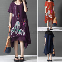 Women Summer Casual Loose Midi A-Line Flare Swing Printed Floral Dress Plus Size