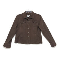 A.M.I. Fitted Stretch Denim Jacket Womens XL Faded Brown Button Front *READ*