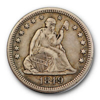 1849 Seated Liberty Quarter Extra Fine XF Better Date Toned #10825