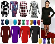 Womens long sleeve bodycon short mini dress womens top 6-22 ^ LnRn