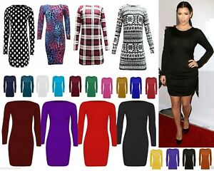 Womens long sleeve bodycon short mini dress womens top 6-22  LnRn