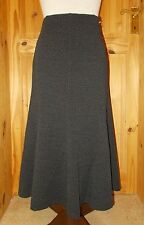 COUNTRY CASUALS black grey woven look midi flared fishtail winter skirt BNWT 10