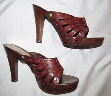 DOLCE & GABBANA strappy retro look slides wood platform sandals shoes 38.5   **