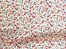 1 7/8 yd Cotton Fabric White with Flowers in Red, Blue & Gold