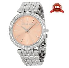 NEW MICHAEL KORS MK3218 DARCI PINK DIAL SILVER CRYSTAL LADIES WATCH UK STOCK