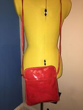 BNWT OSPREY LONDON Red Iris-splash Patent Leather Cross Body Bag.
