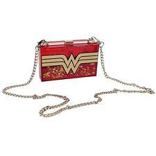 Official DC Comics Wonder Woman Glitter Perspex Box Sequin Clutch Handbag