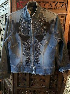 Lady Vintage USA.Denim Jacket W/ Lace Appliques.Perfect Condition. 100 Cm Bust .