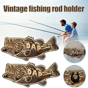 Large Mouth Bass Fishing Rod holder Wall Mounted Wood Fishing Pole Rack for Dad