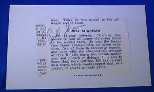 BILL SHARMAN d.2013 autographed signed auto 3x5 Boston Celtics LA Lakers 1950-76