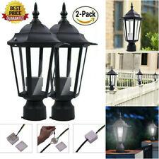 2Pcs Pillar Light Garden Aluminum Outdoor Lighting Patio Yard Gate Post Lamp Us