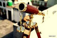 Handmade Antique Brass Spy Glass Telescope Adjustable Tripod Table top Replica