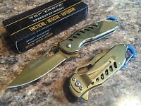 "Tac Force 6.5"" Gold Ti-Coated Spring Assisted Folding Pocket Knife Keychain Clip"