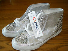 ** Womens Superga  6.5 Silver Metal Stud Athletic Casual Fashion Sneakers Shoes