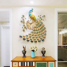 Peacock Wall Clocks Digital Luxury 3D Crystal Quartz Art Decoration