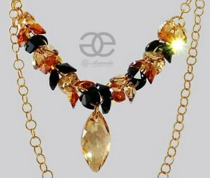 NEW FABULOUS ORIGINAL CRYSTALS NECKLACE *GOLDEN NAWI * GOLD PLATED SILVER
