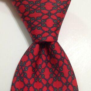 HERMES 7127 FA Men's 100% Silk Necktie FRANCE Luxury Geometric Red/Blue GUC