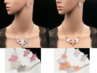 Modern art seastar star fish gray orange pink lucite chain necklace earrings N74