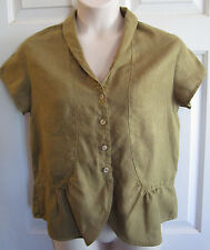 KLEEN Olive Green Ramie Short Sleeve Ruffle Gather Button Front Top Womens MED