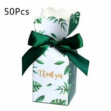 50Pcs/Set Green Paper Candy Boxes Gift Bag Wedding Baby Gift Box Party Supplies
