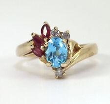 Diamante topacio azul rubí anillo 14K ovalado de oro amarillo marquesita