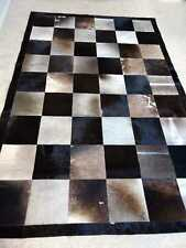 Natural Cowhide Patchwork Rug Tricolor 5x8 ft Large Real Cow Skin Carpet as PIc