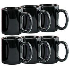 Creative Home 12 oz ceramic Tea Cup Coffee Mug (Set of 6), Black FREE2DAYSHIP