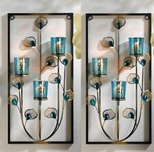 """2 Peacock Feathers Wall Sconces with 3 Turquoise Candle Cups 18.8"""" High"""