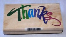 """Stamp - """"THANKS"""" Word Stamp Mounted Rubber on Wood NEW Never Used"""