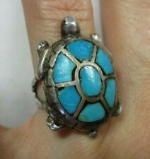 Vintage Southwestern Sterling Silver Turquoise Turtle Tortoise Ring 11g size 6.5