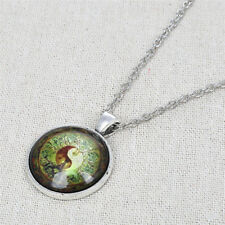 Tree of Life Unisex Cabochon Pendant Tai Chi Strass Glass Necklace Silver Chain