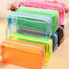 S/L Size Pencil Pen Case Cosmetic Bag Clear  Pouch Zipper Toiletry Holder KW