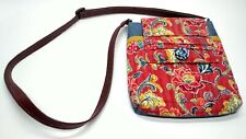 Womens Floral Purse Hand Bag Over Shoulder Red Blue Quilted Fabric