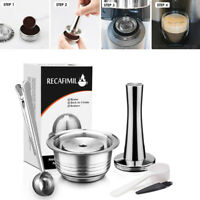 230ml Refillable Coffee Pod Capsule Stainless Steel Spoon Brush For Vertuo Plus