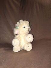 "Lola Lamb Plush Russ Berrie Soft Stuffed Animal 5"" Cream White w Green Hair Bows"