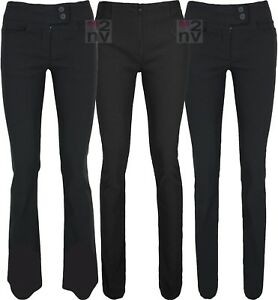 Ladies Long Tall Leg Good Quality STRETCH Fit Black Work Office School Trousers