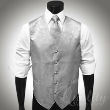 Tonal Paisley Satin Vest & Necktie Set for Suit or Tuxedo 20 Colors Available