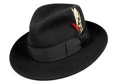 100%wool made inUSA Godfather City hat satin lined western cowboy Mobster Black