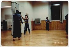 Vintage 80s PHOTO Guys Practicing Martial Arts w/ Weapons In Studio