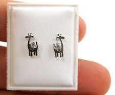 2mm Zirconia Giraffe Earrings for Girls and Toddlers Sterling Silver
